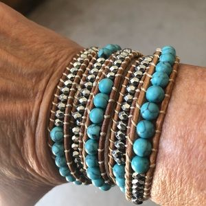 Silver, turquoise and leather wrap bracelet.